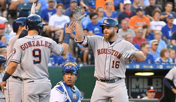 Jun 5, 2017; Kansas City, MO, USA; Houston Astros catcher Brian McCann (16) is congratulated by left fielder Marwin Gonzalez (9) after hitting a two run home run in the fourth inning against the Kansas City Royals at Kauffman Stadium. Photo Credit: Denny Medley-USA TODAY Sports