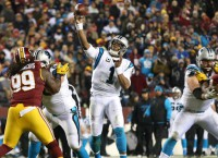 Panthers' Newton throws for first time since surgery