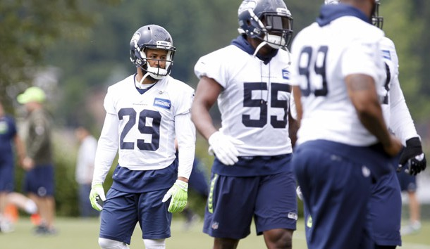 Jun 13, 2017; Renton, WA, USA; Seattle Seahawks free safety Earl Thomas (29) watches during a minicamp practice at the Virginia Mason Athletic Center. Photo Credit: Joe Nicholson-USA TODAY Sports
