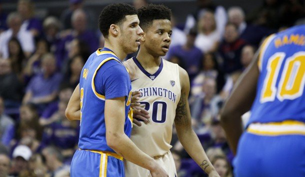 Feb 4, 2017; Seattle, WA, USA; UCLA Bruins guard Lonzo Ball (2) and Washington Huskies guard Markelle Fultz (20) guard each other during the second half at Alaska Airlines Arena at Hec Edmundson Pavilion. UCLA won 107-66. Photo Credit: Jennifer Buchanan-USA TODAY Sports