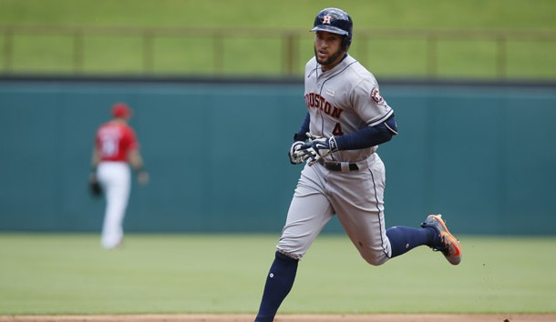 Jun 4, 2017; Arlington, TX, USA; Houston Astros right fielder George Springer (4) rounds the bases after hitting a home run in the first inning against the Texas Rangers at Globe Life Park in Arlington. Photo Credit: Tim Heitman-USA TODAY Sports