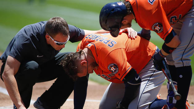 Astros CF Springer departs after getting hit by pitch