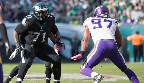 Oct 23, 2016; Philadelphia, PA, USA; Philadelphia Eagles tackle Jason Peters (71) blocks against Minnesota Vikings defensive end Everson Griffen (97) at Lincoln Financial Field. The Philadelphia Eagles won 21-10. Photo Credit: Bill Streicher-USA TODAY Sports