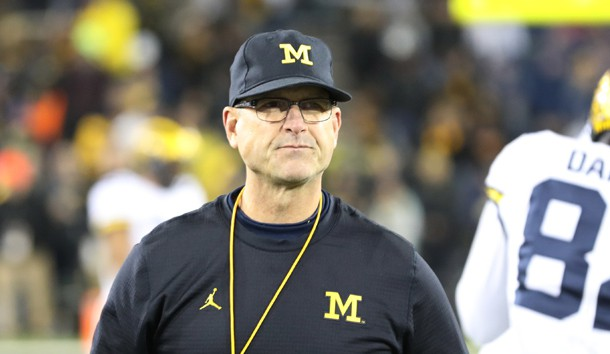 Nov 12, 2016; Iowa City, IA, USA; Michigan Wolverines head coach Jim Harbaugh walks the sidelines during their game against the Iowa Hawkeyes at Kinnick Stadium. Photo Credit: Reese Strickland-USA TODAY Sports