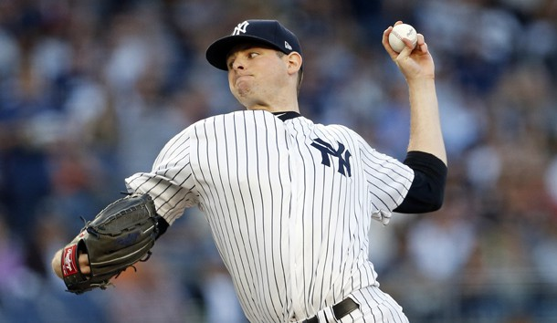 Jun 9, 2017; Bronx, NY, USA; New York Yankees starting pitcher Jordan Montgomery (47) pitches against the Baltimore Orioles during the first inning at Yankee Stadium. Photo Credit: Adam Hunger-USA TODAY Sports