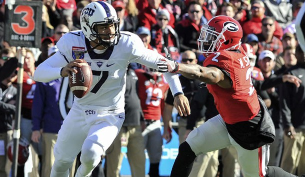 Dec 30, 2016; Memphis, TN, USA; Georgia Bulldogs defensive back Maurice Smith (2) pressures TCU Horned Frogs quarterback Kenny Hill (7) during the first half  at Liberty Bowl. Photo Credit: Justin Ford-USA TODAY Sports