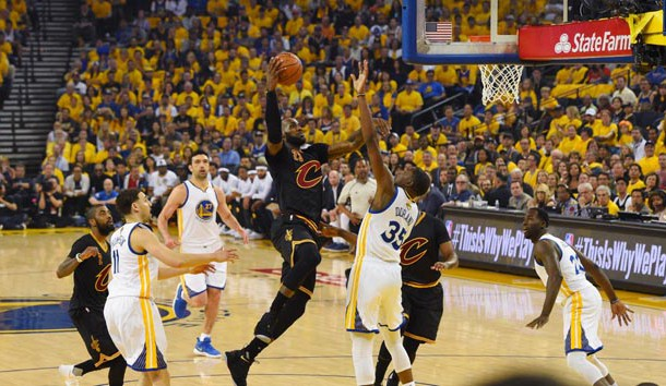 Jun 4, 2017; Oakland, CA, USA; Cleveland Cavaliers forward LeBron James (23) drives to the basket against Golden State Warriors forward Kevin Durant (35) during the first half in game two of the 2017 NBA Finals at Oracle Arena. Photo Credit: Kyle Terada-USA TODAY Sports