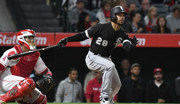 May 16, 2017; Anaheim, CA, USA; Chicago White Sox center fielder Leury Garcia (28) hits a double against the Los Angeles Angels in the eighth inning at Angel Stadium of Anaheim. Photo Credit: Richard Mackson-USA TODAY Sports