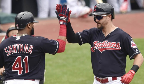 Jun 15, 2017; Cleveland, OH, USA; Cleveland Indians right fielder Lonnie Chisenhall (8) celebrates his three-run home run with first baseman Carlos Santana (41) in the fifth inning against the Los Angeles Dodgers at Progressive Field. Photo Credit: David Richard-USA TODAY Sports