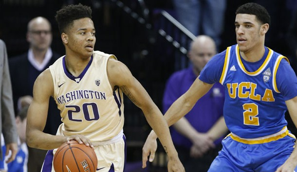 Feb 4, 2017; Seattle, WA, USA; Washington Huskies guard Markelle Fultz (20) dribbles against UCLA Bruins guard Lonzo Ball (2) during the first half at Alaska Airlines Arena at Hec Edmundson Pavilion. Photo Credit: Jennifer Buchanan-USA TODAY Sports