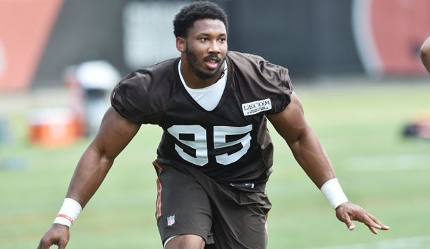 Jun 13, 2017; Berea, OH, USA; Cleveland Browns defensive lineman Myles Garrett (95) runs a drill during minicamp at the Cleveland Browns training facility. Photo Credit: Ken Blaze-USA TODAY Sports