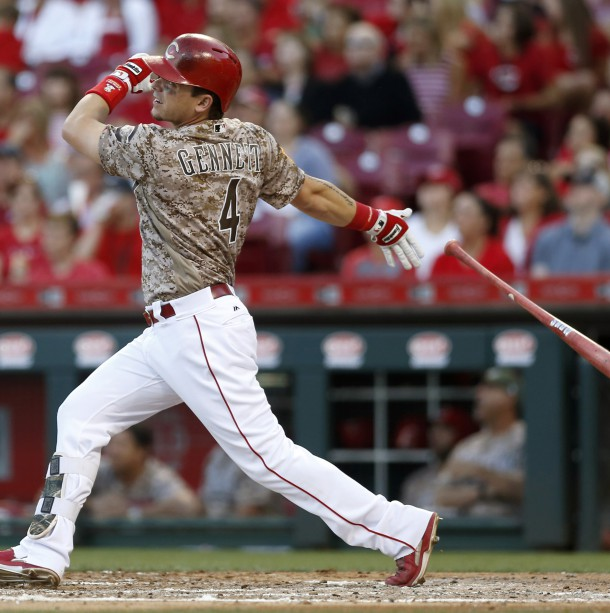 Jun 6, 2017; Cincinnati, OH, USA; Cincinnati Reds left fielder Scooter Gennett hits a grand slam against the St. Louis Cardinals during the third inning at Great American Ball Park. Photo Credit: David Kohl-USA TODAY Sports