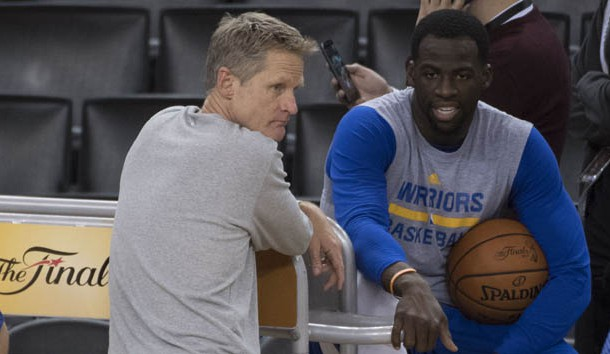 May 31, 2017; Oakland, CA, USA; Golden State Warriors head coach Steve Kerr (left) talks to forward Draymond Green (23, right) during the NBA Finals media day at Oracle Arena. Photo Credit: Kyle Terada-USA TODAY Sports