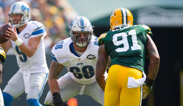 Sep 25, 2016; Green Bay, WI, USA;  Detroit Lions offensive tackle Taylor Decker (68) during the game against the Green Bay Packers at Lambeau Field.  Green Bay won 34-27.  Photo Credit: Jeff Hanisch-USA TODAY Sports