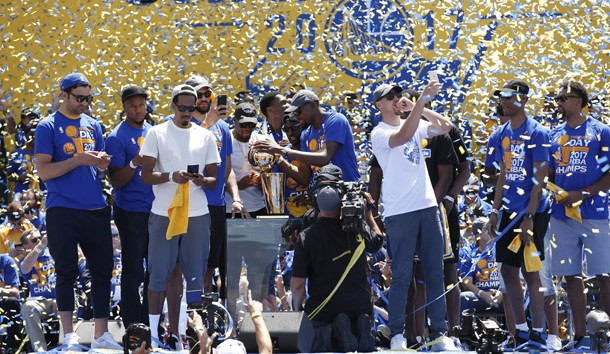 Jun 15, 2017; Oakland, CA, USA; The Golden State Warriors celebrate during the Warriors 2017 championship victory parade in downtown Oakland. Photo Credit: Cary Edmondson-USA TODAY Sports
