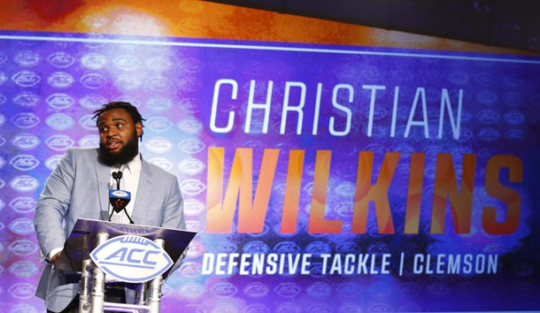 Jul 13, 2017; Charlotte, NC, USA; Clemson Tigers defensive tackle Christian Wilkins speaks to the media during the ACC Kickoff at the Westin Charlotte. Photo Credit: Jeremy Brevard-USA TODAY Sports