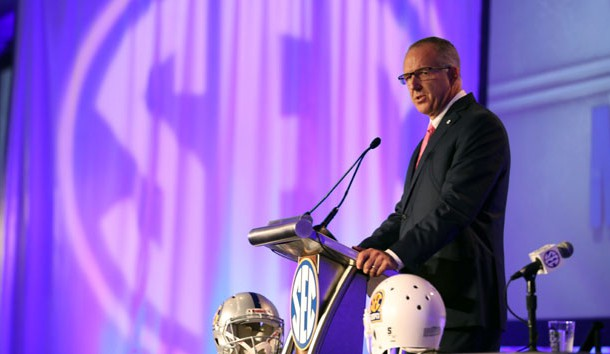 Jul 10, 2017; Hoover, AL, USA; Southeastern Conference commissioner Greg Sankey speaks during SEC media days at Hyatt Regency Birmingham-The Winfrey Hotel. Photo Credit: Jason Getz-USA TODAY Sports