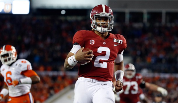 Jan 9, 2017; Tampa, FL, USA; Alabama Crimson Tide quarterback Jalen Hurts (2) runs to the end zone for a touchdown against the Clemson Tigers during the fourth quarter in the 2017 College Football Playoff National Championship Game at Raymond James Stadium. Photo Credit: Kim Klement-USA TODAY Sports