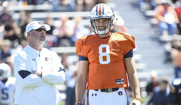Jarrett Stidham talks with Chip Lindsay during Auburn's annual A-Day Game. Photo Credit: Auburn University