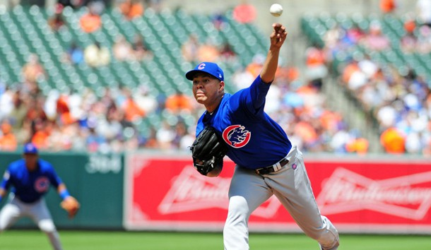 Jul 16, 2017; Baltimore, MD, USA; Chicago Cubs pitcher Jose Quintana (62) throws the ball in the second inning against the Baltimore Orioles at Oriole Park at Camden Yards. Photo Credit: Evan Habeeb-USA TODAY Sports