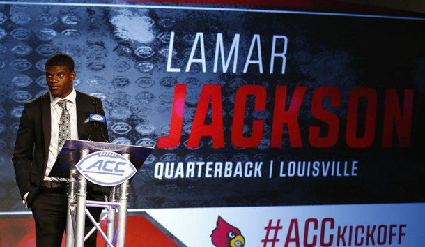 Jul 13, 2017; Charlotte, NC, USA; Louisville Cardinals quarterback Lamar Jackson speaks to the media during the ACC Kickoff at the Westin Charlotte. Photo Credit: Jeremy Brevard-USA TODAY Sports