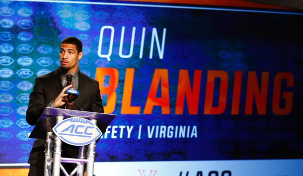 Jul 14, 2017; Charlotte, NC, USA; Virginia Cavaliers safety Quin Blanding speaks to the media during the ACC Kickoff at the Westin Charlotte. Photo Credit: Jeremy Brevard-USA TODAY Sports