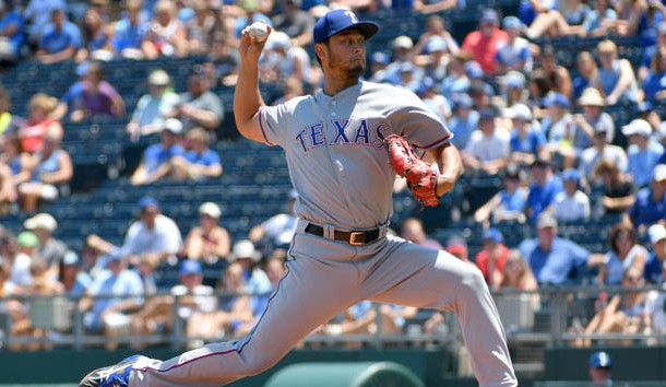 Jul 16, 2017; Kansas City, MO, USA; Texas Rangers starting pitcher Yu Darvish (11) delvers a pitch in the first inning against the Kansas City Royals at Kauffman Stadium. Photo Credit: Denny Medley-USA TODAY Sports