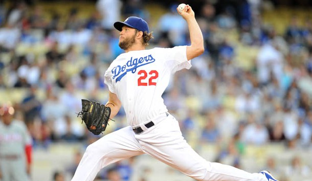 July 8, 2015; Los Angeles, CA, USA; Los Angeles Dodgers  starting pitcher Clayton Kershaw (22) pitches the first inning against the Philadelphia Phillies at Dodger Stadium. Photo Credit: Gary A. Vasquez-USA TODAY Sports