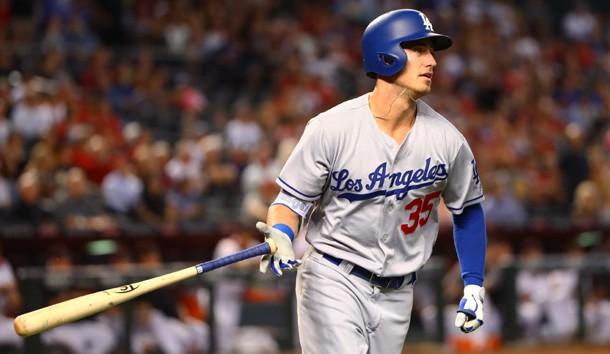 Aug 9, 2017; Phoenix, AZ, USA; Los Angeles Dodgers first baseman Cody Bellinger hits a solo home run in the first inning against the Arizona Diamondbacks at Chase Field. Photo Credit: Mark J. Rebilas-USA TODAY Sports