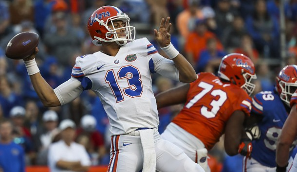 Apr 7, 2017; Gainesville, FL, USA; Florida Gators quarterback Feleipe Franks (13) throws a pass during the orange and blue debut at Ben Hill Griffin Stadium. Photo Credit: Logan Bowles-USA TODAY Sports