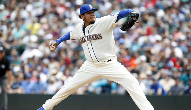 Jul 9, 2017; Seattle, WA, USA; Seattle Mariners starting pitcher Felix Hernandez (34) throws against the Oakland Athletics during the third inning at Safeco Field. Photo Credit: Joe Nicholson-USA TODAY Sports