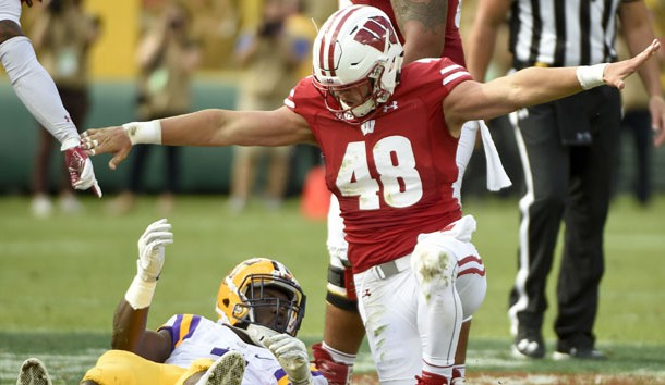 Sep 3, 2016; Green Bay, WI, USA;  Wisconsin Badgers linebacker Jack Cichy (48) reacts after stopping LSU Tigers running back Leonard Fournette (7) short of a first down in the second quarter at Lambeau Field. Photo Credit: Benny Sieu-USA TODAY Sports