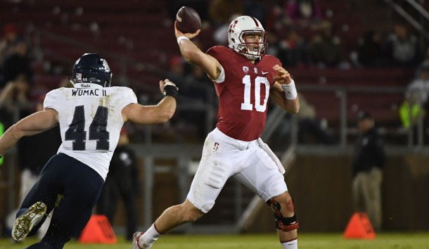 November 26, 2016; Stanford, CA, USA; Stanford Cardinal quarterback Keller Chryst (10) passes the football against Rice Owls defensive end Brian Womac (44) during the second quarter at Stanford Stadium. Photo Credit: Kyle Terada-USA TODAY Sports