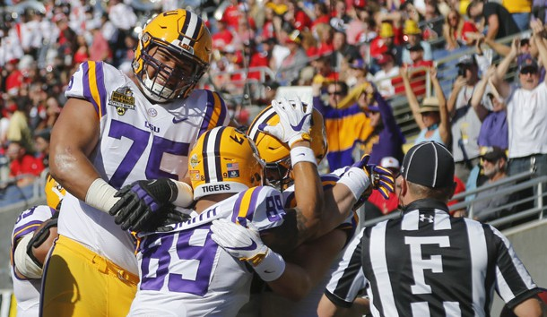 Dec 31, 2016; Orlando, FL, USA;  LSU Tigers guard Maea Teuhema (75) and  tight end DeSean Smith (89) celebrate a touchdown with tight end Colin Jeter (81) during the second quarter of an NCAA football game in the Buffalo Wild Wings Citrus Bowl at Camping World Stadium. Photo Credit: Reinhold Matay-USA TODAY Sports