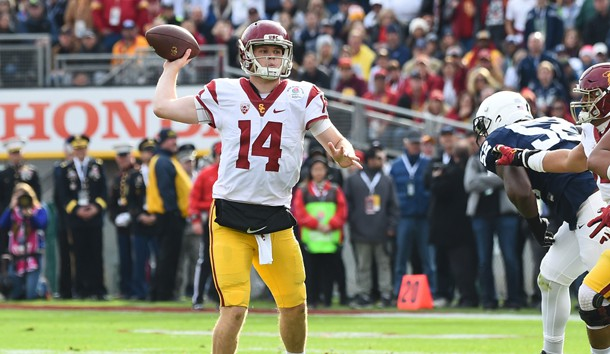 Jan 2, 2017; Pasadena, CA, USA; USC Trojans quarterback Sam Darnold (14) throws a touchdown pass against the Penn State Nittany Lions during the first quarter of the 2017 Rose Bowl game at Rose Bowl. Photo Credit: Jayne Kamin-Oncea-USA TODAY Sports