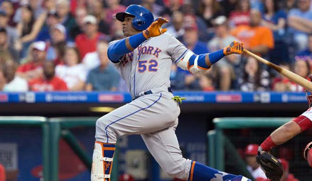 Apr 11, 2017; Philadelphia, PA, USA; New York Mets left fielder Yoenis Cespedes (52) hits a three RBI home run against the Philadelphia Phillies during the first inning at Citizens Bank Park. Photo Credit: Bill Streicher-USA TODAY Sports