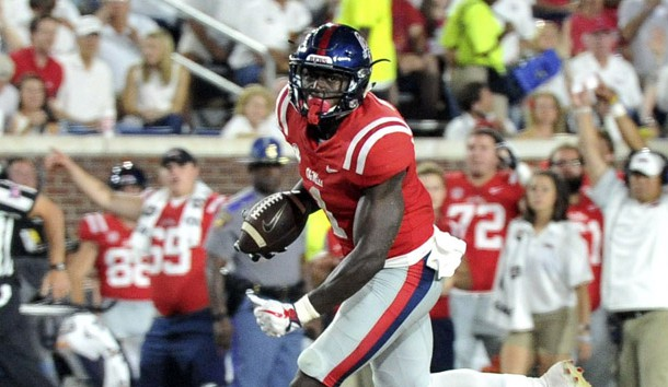 Sep 2, 2017; Oxford, MS, USA; Mississippi Rebels wide receiver A.J. Brown (1) carries the ball against the South Alabama Jaguars during the second half at Vaught-Hemingway Stadium. Mississippi Rebels defeated the South Alabama Jaguars 47-27. Photo Credit: Justin Ford-USA TODAY Sports
