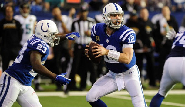 Jan 1, 2017; Indianapolis, IN, USA;  Indianapolis Colts quarterback Andrew Luck (12) drops back to pass against the Jacksonville Jaguars at Lucas Oil Stadium. Photo Credit: Thomas J. Russo-USA TODAY Sports