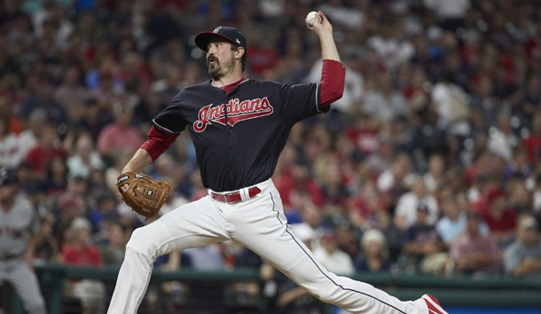 Aug 21, 2017; Cleveland, OH, USA; Cleveland Indians relief pitcher Andrew Miller (24) pitches in the seventh inning against the Boston Red Sox at Progressive Field. Photo Credit: Rick Osentoski-USA TODAY Sports