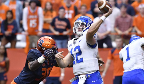 Sep 9, 2017; Syracuse, NY, USA; Middle Tennessee Blue Raiders quarterback Brent Stockstill (12) is hit by Syracuse Orange linebacker Parris Bennett (30) as he throws a pass during the first quarter at the Carrier Dome. Photo Credit: Mark Konezny-USA TODAY Sports