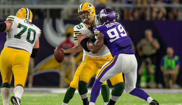 Sep 18 2016 Minneapolis MN USA Green Bay Packers tackle Bryan Bulaga blocks Minnesota Vikings defensive end Danielle Hunter in the third quarter at U.S. Bank Stadium. The Vikings win 17-14