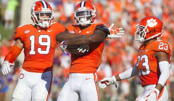 Sep 23, 2017; Clemson, SC, USA; Clemson Tigers cornerback Trayvon Mullen (1) celebrates after intercepting a ball during the first half against the Boston College Eagles at Clemson Memorial Stadium. Photo Credit: Joshua S. Kelly-USA TODAY Sports