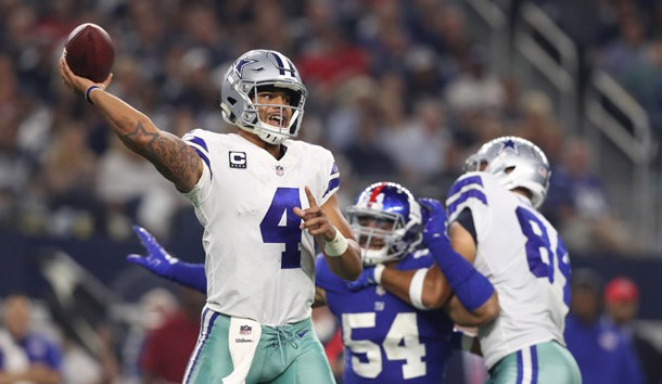 Sep 10, 2017; Arlington, TX, USA; Dallas Cowboys quarterback Dak Prescott (4) throws in the pocket in the third quarter against the New York Giants at AT&T Stadium. Photo Credit: Matthew Emmons-USA TODAY Sports