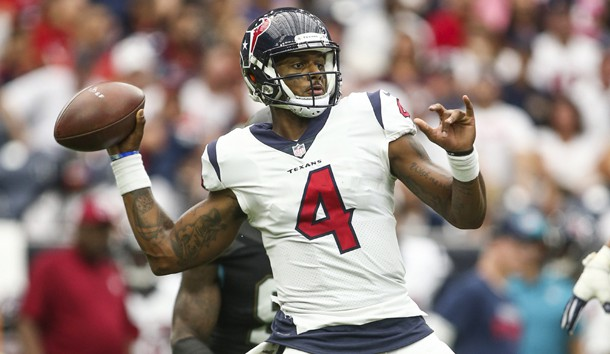 Sep 10, 2017; Houston, TX, USA; Houston Texans quarterback Deshaun Watson (4) attempts a pass during the fourth quarter against the Jacksonville Jaguars at NRG Stadium. Photo Credit: Troy Taormina-USA TODAY Sports