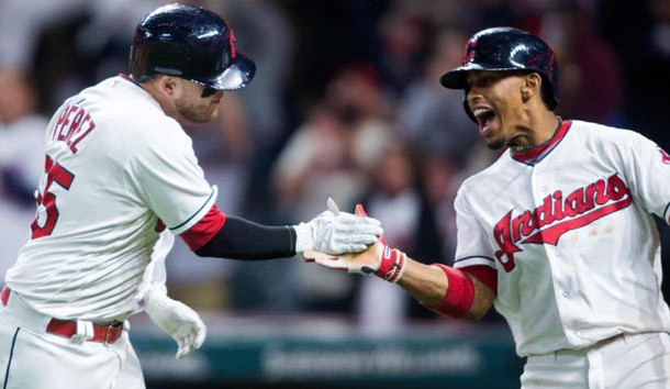 Sep 10, 2017; Cleveland, OH, USA; Cleveland Indians shortstop Francisco Lindor congratulates catcher Roberto Perez (55) on a solo home run during the sixth inning against the Baltimore Orioles at Progressive Field. Photo Credit: Scott R. Galvin-USA TODAY Sports