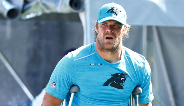 Sep 17, 2017; Charlotte, NC, USA; Carolina Panthers tight end Greg Olsen (88) walks on crutches after an injury in the game against the Buffalo Bills at Bank of America Stadium. Photo Credit: Jeremy Brevard-USA TODAY Sports