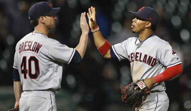 Sep 7, 2017; Chicago, IL, USA; Cleveland Indians relief pitcher Craig Breslow (40) celebrates with shortstop Francisco Lindor (12) after defeating the Chicago White Sox at Guaranteed Rate Field. Photo Credit: Kamil Krzaczynski-USA TODAY Sports