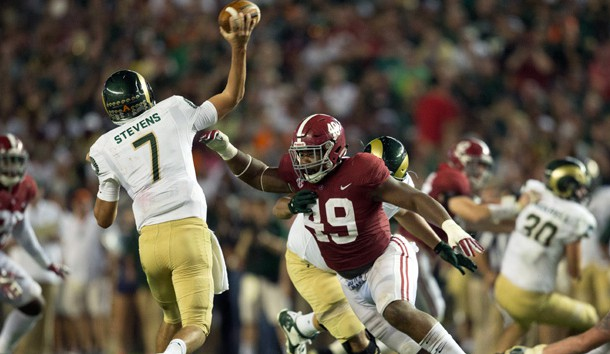 Sep 16, 2017; Tuscaloosa, AL, USA; Alabama Crimson Tide defensive lineman Isaiah Buggs (49) puts the pressure on Colorado State Rams quarterback Nick Stevens (7) at Bryant-Denny Stadium. Photo Credit: Marvin Gentry-USA TODAY Sports