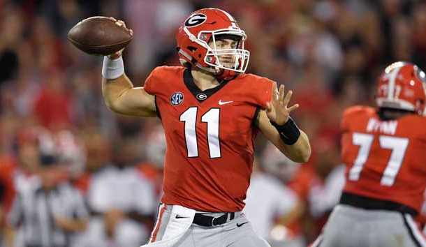 Sep 23, 2017; Athens, GA, USA; Georgia Bulldogs quarterback Jake Fromm (11) passes against the Mississippi State Bulldogs during the first half at Sanford Stadium. Photo Credit: Dale Zanine-USA TODAY Sports