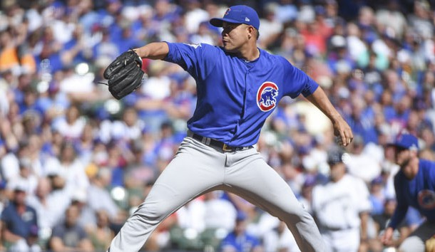Sep 24, 2017; Milwaukee, WI, USA;  Chicago Cubs pitcher Jose Quintana (62) throws a pitch in the first inning against the Milwaukee Brewers at Miller Park. Photo Credit: Benny Sieu-USA TODAY Sports